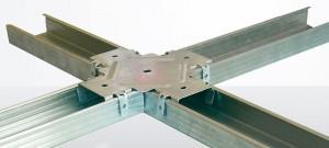 Краб используется для соединения CD профилей во взаимно перпендикулярных направлениях при монтаже каркаса одноуровневого подвесного гипсокартонного потолка.