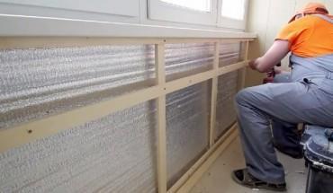 Утепление стен лоджии с обрешеткой