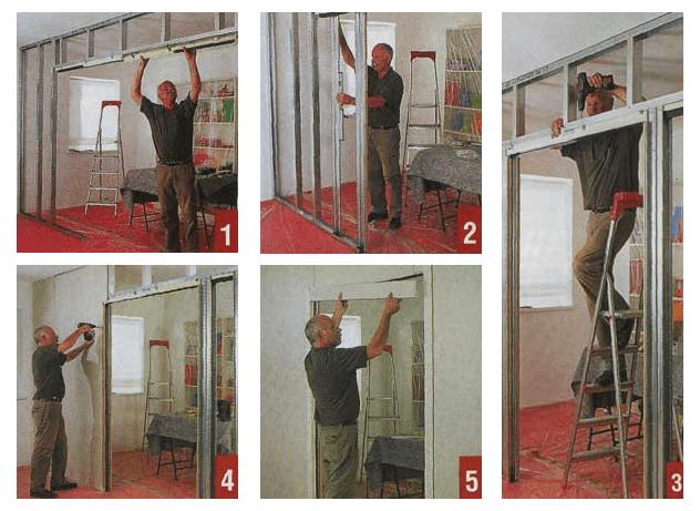 Пошаговая инструкция по возведению перегородки с дверью из гипсокартона