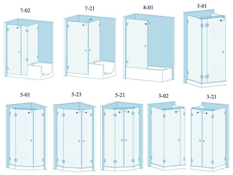 формы и размеры душевых кабин
