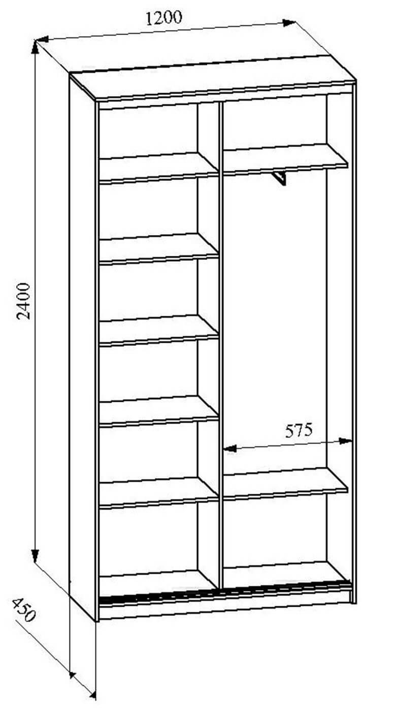 высота и ширтна шкафа-купе