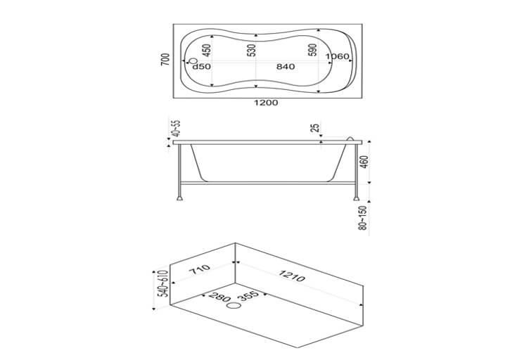 Размеры акриловой ванны